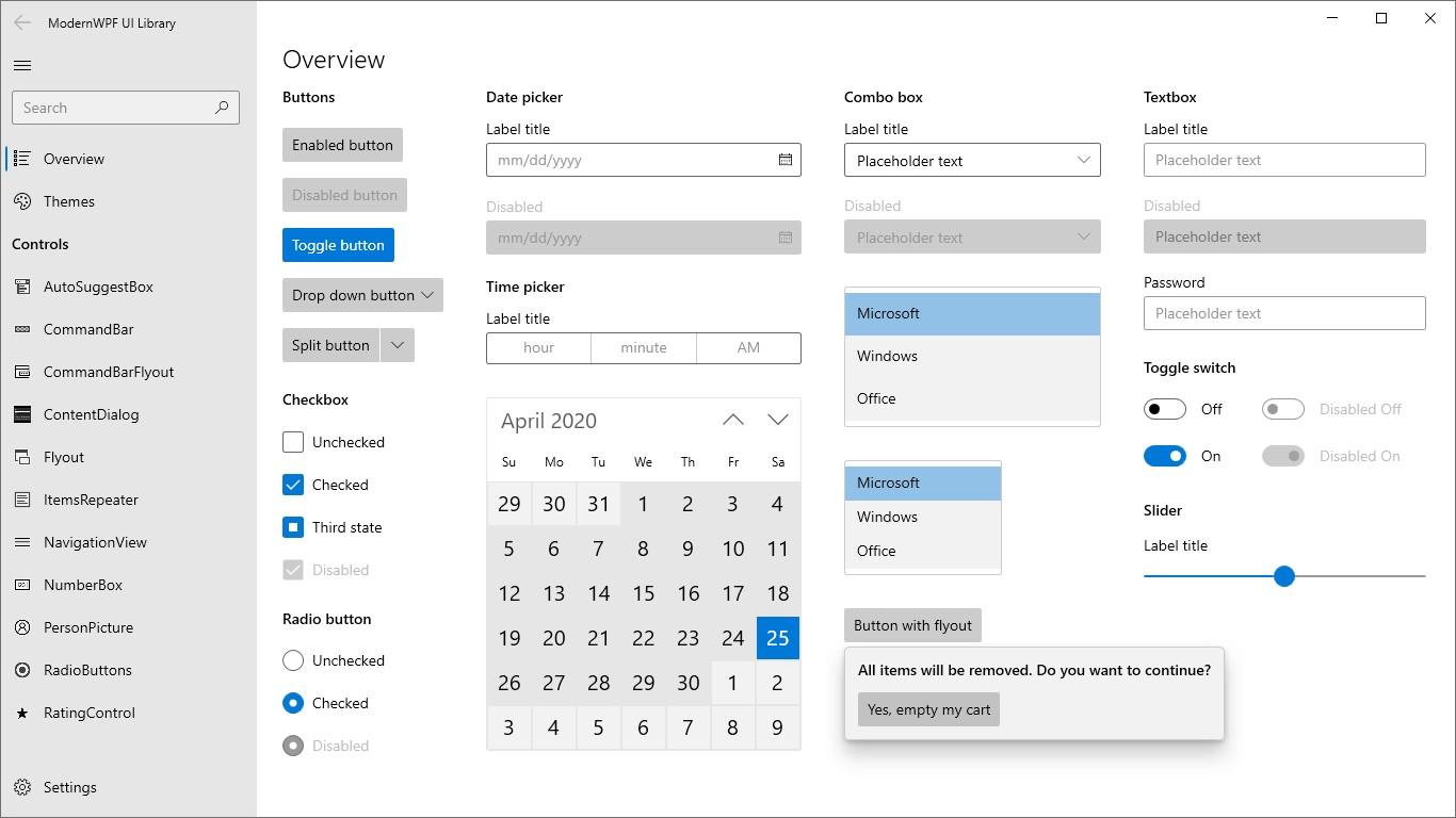 WPF 漂亮的现代化控件 新 ModernWPF 界面库